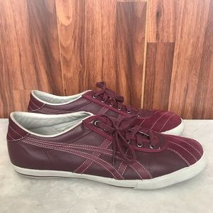 ASICS Onitsuka Tiger Red Suede Lace Up Sneakers